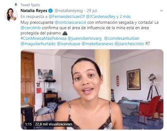 La crítica de la famosa actriz Natalia Reyes a los medios que promueven la megaminería