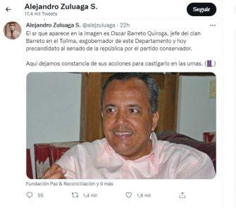 El trino que pone a Oscar Barreto en la Picota del ciberespacio.